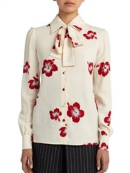 Saint Laurent Floral Collar Lavalliere Blouse Shell Rouge
