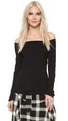 Three Dots Off Shoulder Top Black