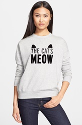 Kate Spade 'The Cat's Meow' Crewneck Sweatshirt Grey Melange