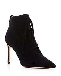 Delman Becca High Heel Lace Up Booties Black