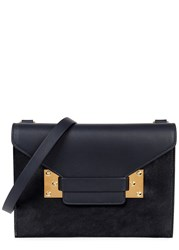 Sophie Hulme Milner Double Leather And Calf Hair Clutch Navy