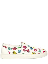 Au Jour Le Jour Lips Cotton Canvas Slip On Sneakers