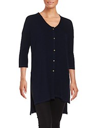 Bobeau High Low Tunic Shirt Black Navy