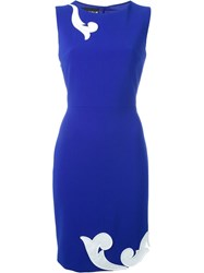 Boutique Moschino Embroidered Tube Dress Blue