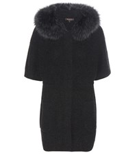 Loro Piana Halifax Knitted Cashmere Jacket With Fur Black