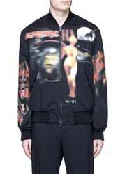 Givenchy 'Heavy Metal' Print Padded Bomber Jacket Black Multi Colour