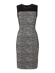 Episode Shift Dress With Tweed Panel And Pu Trim Black White