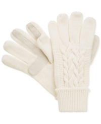 Isotoner Signature Touchscreen Enabled Solid Triple Cable Knit Palm Gloves Ivory