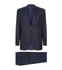 Brioni Checked Two Piece Suit Male Navy