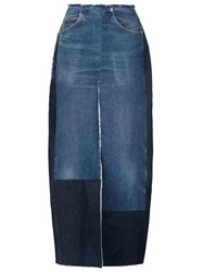Tome Long Denim Slit Skirt Blue