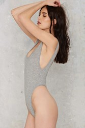Nasty Gal Let's Get Physical Ribbed Bodysuit Gray
