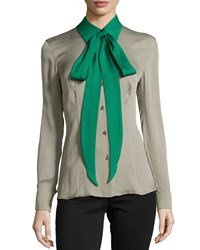 Escada Silk Colorblock Tie Neck Blouse Sage Green