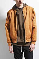 Forever 21 Eptm. Faux Suede Bomber Jacket Brown