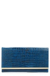 Halogen Clutch Wallet Blue Navy Croc