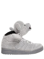 Adidas By Jeremy Scott Bear Synthetic Lame High Sneakers