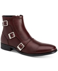 Calvin Klein Men's Stark Triple Monk Leather Boots Men's Shoes Oxblood
