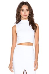 Donna Mizani Cropped Mock Top White
