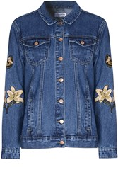 Glamorous Embroidered Denim Jacket Blue