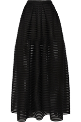 Maje Jongle Mesh Striped Jersey Maxi Skirt