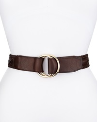 Cole Haan Braided Leather D Ring Pullback Belt Brown