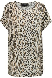 By Malene Birger Addona Leopard Print Crepe Top Animal Print