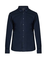 Ermenegildo Zegna Button Down Long Sleeved Cotton Polo Shirt Navy