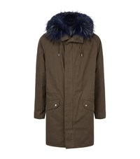 Yves Salomon Fur Lined Parka Jacket Male Forest