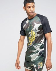 Jaded London Camo Souvenir T Shirt Camo Green