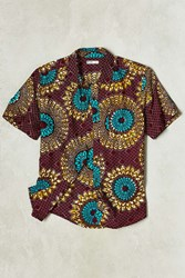 Della X Uo Della Batik Circle Print Short Sleeve Button Down Shirt Plum
