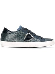 Philippe Model Sequined Lace Up Sneakers Blue