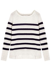Velvet Arlette Navy Striped Cashmere Jumper White And Blue