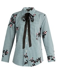 Marc Jacobs Floral Flocked Gingham Blouse Green Multi