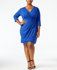 Love Squared Trendy Plus Size Faux Wrap Dress Cobalt