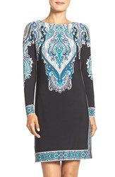 Donna Morgan Petite Women's Border Detail Jersey Shift Dress Black Turquoise Multi