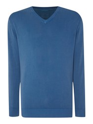 Paul Costelloe Plain V Neck Pull Over Jumper Blue