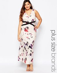 Little Mistress Plus Floral Printed Plunge Maxi Dress Multi