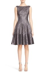 Women's Talbot Runhof Hammered Metallic Jacquard Fit And Flare Dress