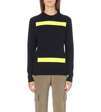 Plys Striped Wool Jumper Navy Yellow