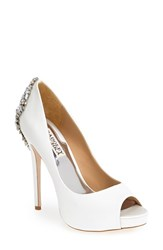 Women's Badgley Mischka 'Kiara' Crystal Back Open Toe Pump White Satin