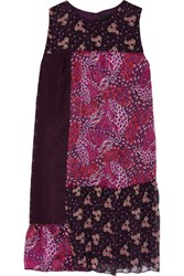 Anna Sui Printed Patchwork Silk Satin Dark Purple