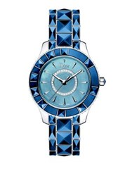 Christian Dior Dior Christal Diamond Sapphire Crystal And Stainless Steel Bracelet Watch Silver Blue