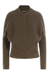 Alexander Mcqueen Ribbed Wool Jacket Green