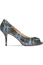 Lucy Choi London Chiswick Croc Effect Glossed Leather Pumps Animal Print