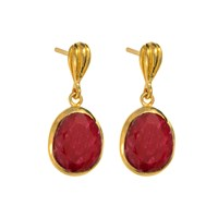 Juvi Gold Cocoa Pod Baja Earrings Ruby Red