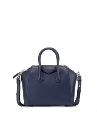 Antigona Mini Leather Satchel Bag Dark Blue Givenchy