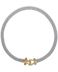 Macy's Rounded Mesh Collar Necklace In Sterling Silver And 14K Gold Over Sterling Silver Two Tone
