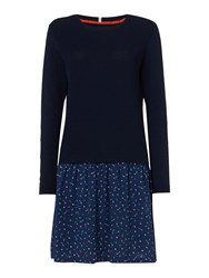 Dickins And Jones Kate Knitted Printed Dress Navy