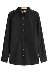 Burberry London Cotton Shirt With Lace Back Black