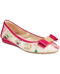 Cole Haan Tali Bow Ballet Flats Women's Shoes Pink Floral