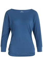 Velvet Long Sleeve Cotton T Shirt Blue
